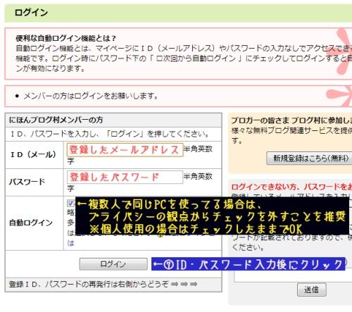 日本ブログ村ログインページ