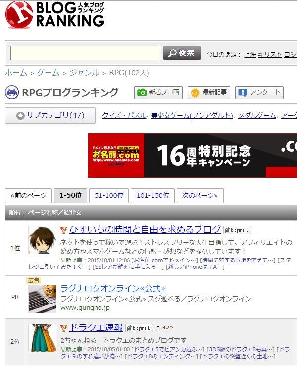 人気ブログランキングRPGカテゴリで1位。