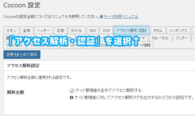 Cocoon_analytics「アクセス解析設定1」
